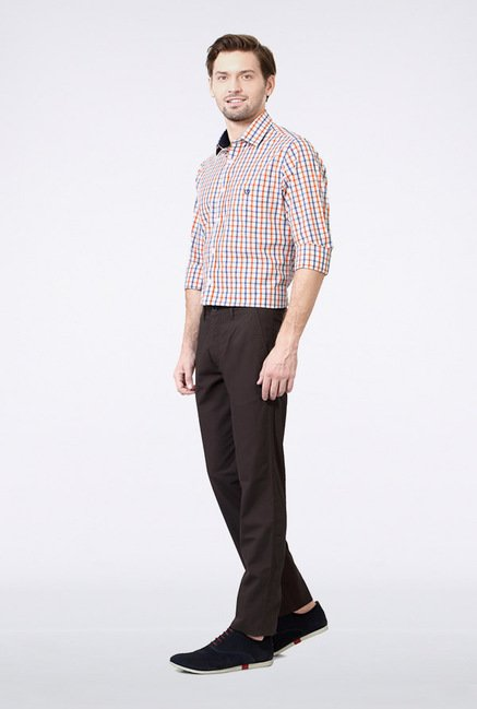Van Heusen Dark Brown Casual Trousers