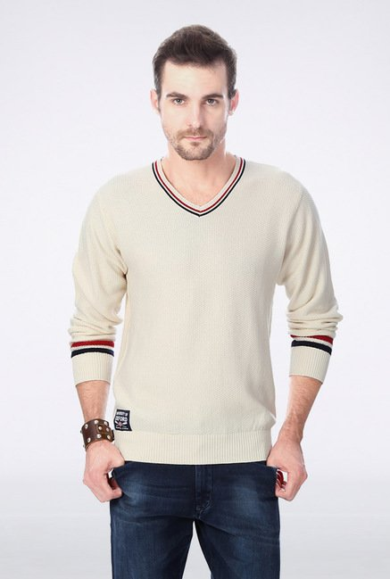 University Of Oxford Cream Solid Sweater
