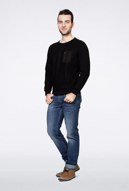Van Heusen Black Solid Sweatshirt