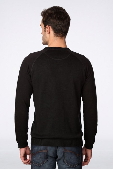 Van Heusen Black Solid Sweater