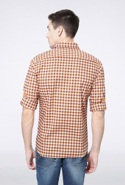 Van Heusen Orange Checks Casual Shirt