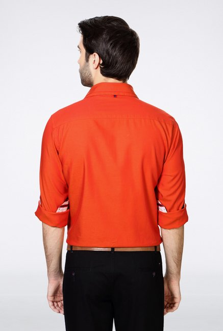 Van Heusen Orange Solid Casual Shirt