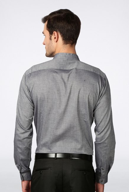 Van Heusen Grey Solid Casual Shirt