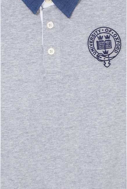 University Of Oxford Grey Solid T Shirt