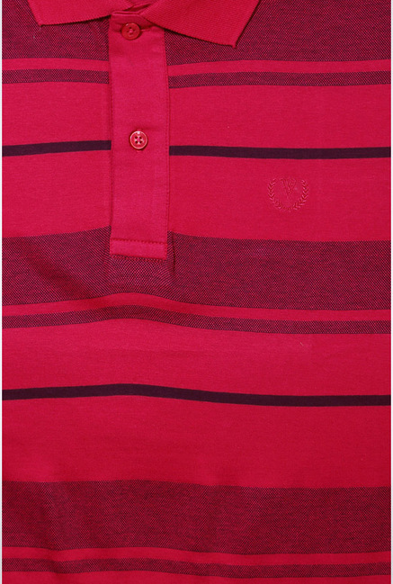 Van Heusen Pink Striped Polo T Shirt