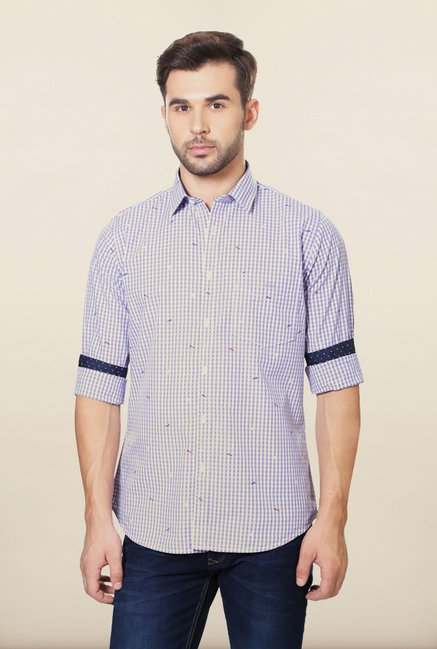 Van Heusen Lilac Checks Casual Shirt