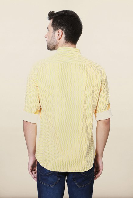 Van Heusen Yellow Printed Casual Shirt