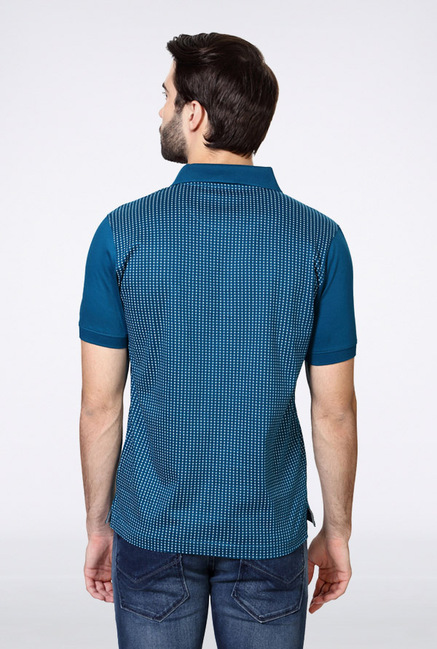Van Heusen Blue Printed Polo T Shirt