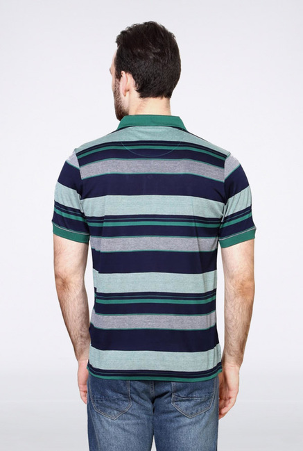 Van Heusen Navy Striped Polo T Shirt