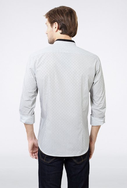 Van Heusen White Self Printed Casual Shirt