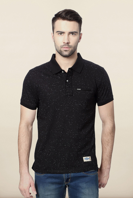 Van Heusen Black Printed Polo T Shirt