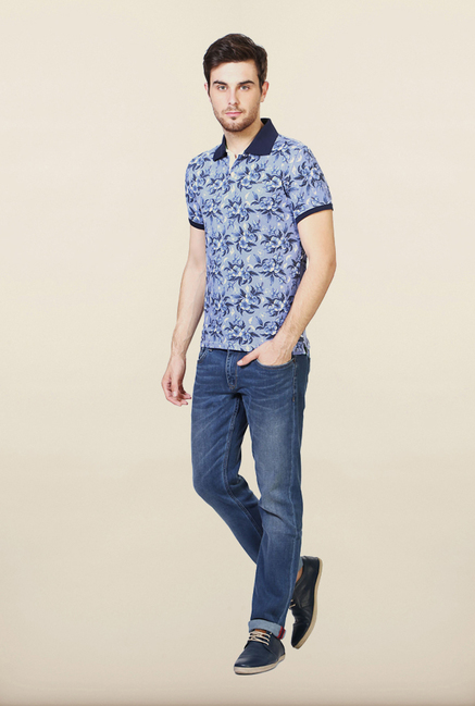 Van Heusen Blue Floral Printed Polo T Shirt