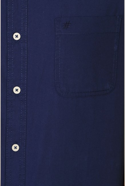 People Navy Solid Casual Shirt