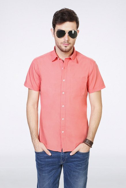 People Pink Solid Casual Shirt