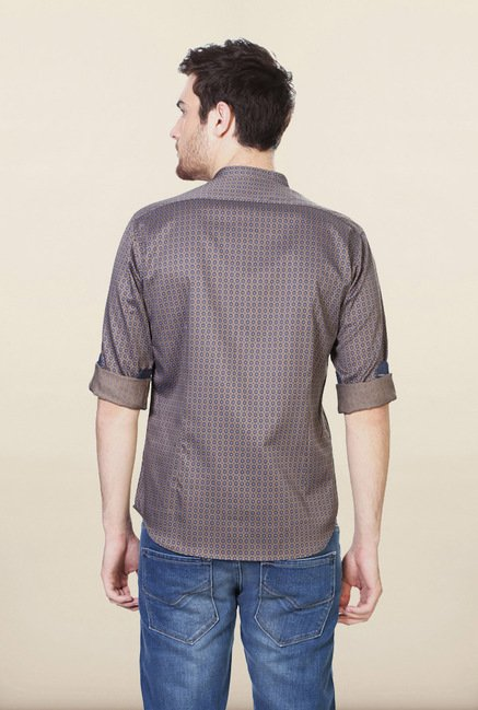 Van Heusen Brown Printed Casual Shirt