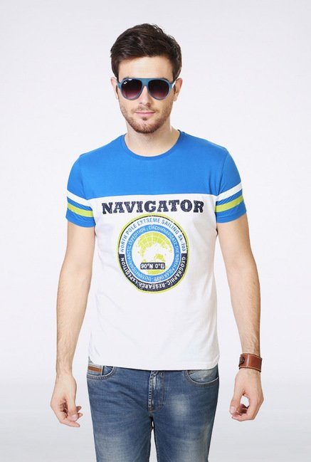 People White & Blue Printed Crew T Shirt