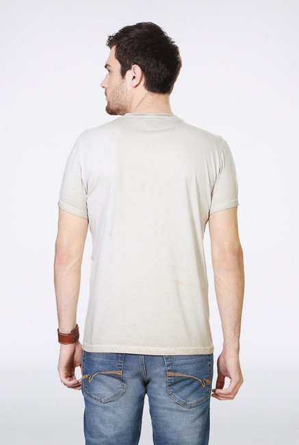 People Beige Graphic Crew T Shirt
