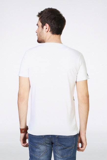 People White Printed V-Neck T Shirt