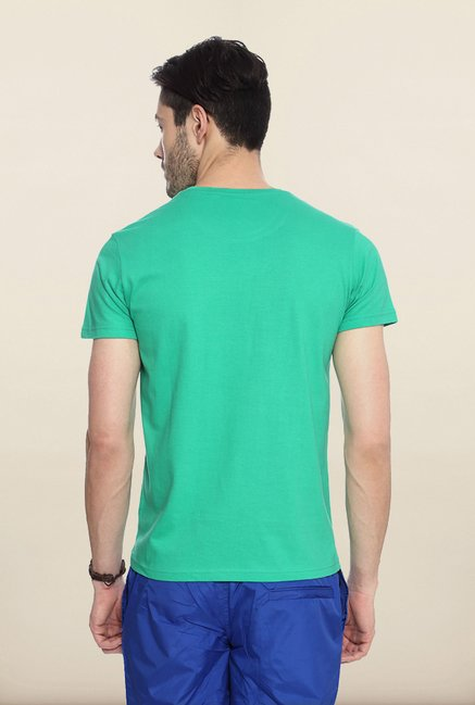 People Green Printed Crew T Shirt