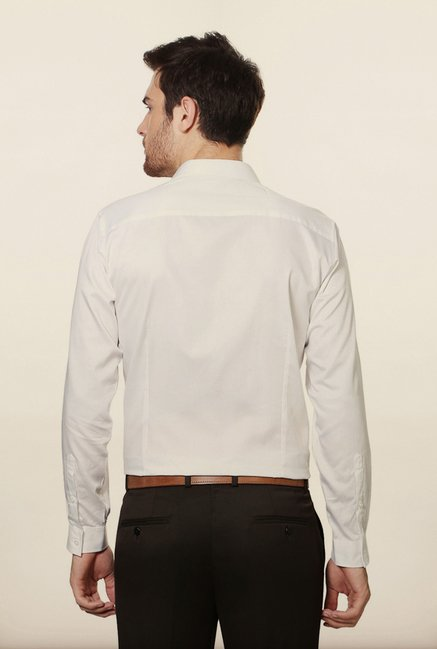 Van Heusen White Embroidered Casual Shirt