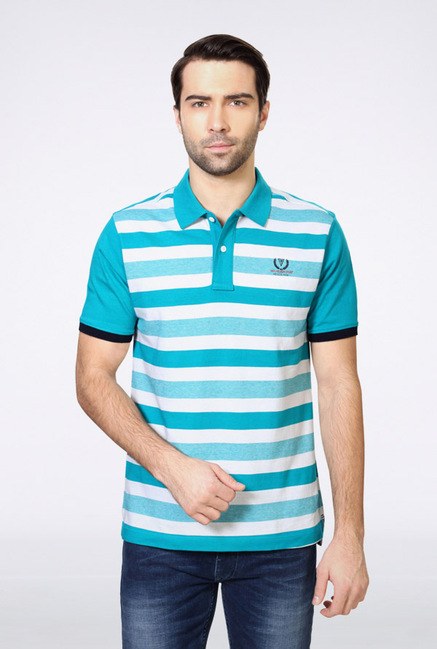 Van Heusen Blue Striped Polo T Shirt