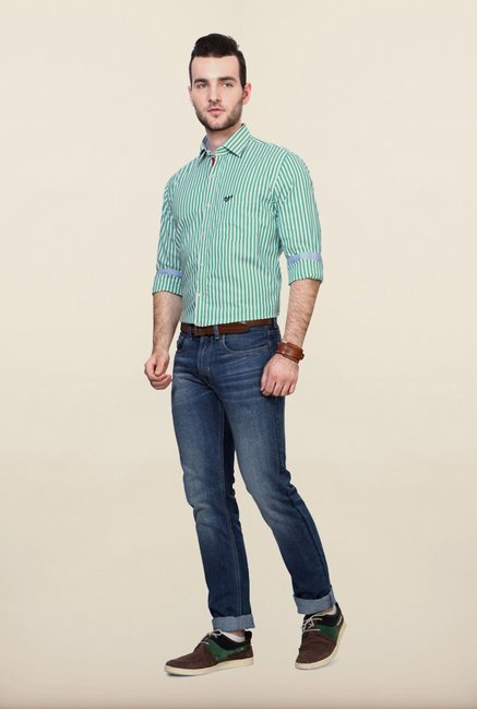 University Of Oxford Turquoise Striped Casual Shirt
