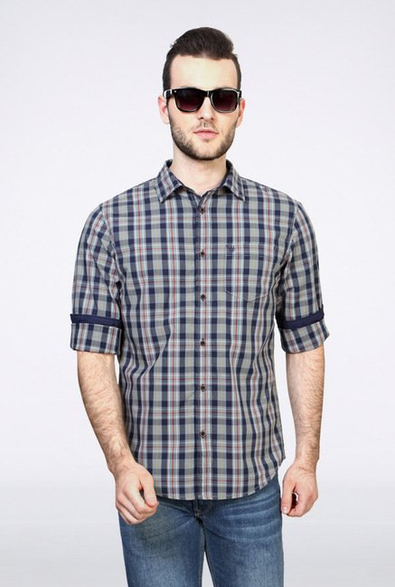People Grey Checks Casual Shirt