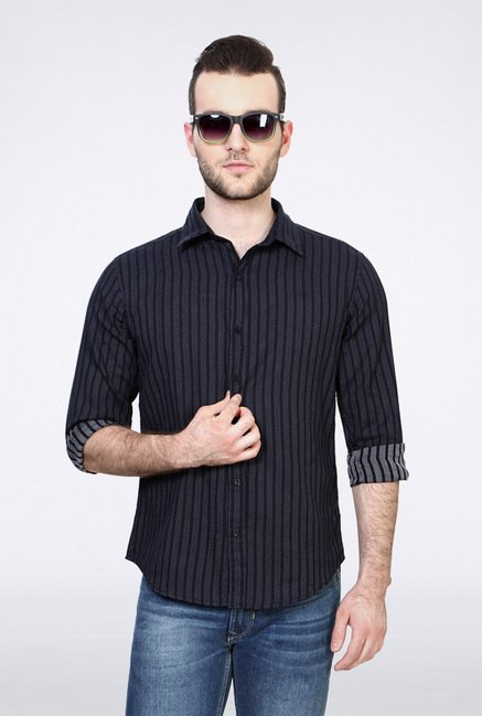 People Navy Striped Casual Shirt