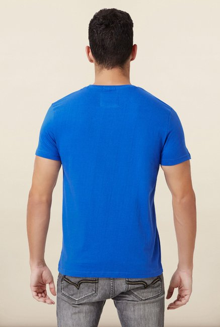University Of Oxford Blue Printed Crew T Shirt