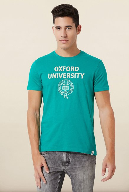 University Of Oxford Teal Printed Crew T Shirt