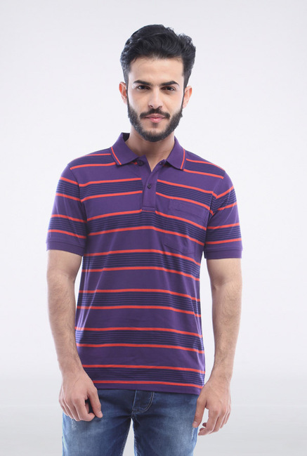 Van Heusen Purple Striped Polo T Shirt
