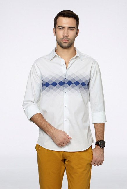 People White Printed Casual Shirt