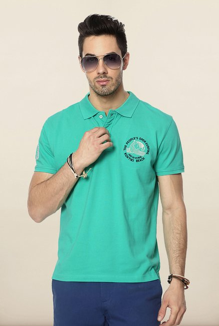 People Turquoise Solid Polo T Shirt