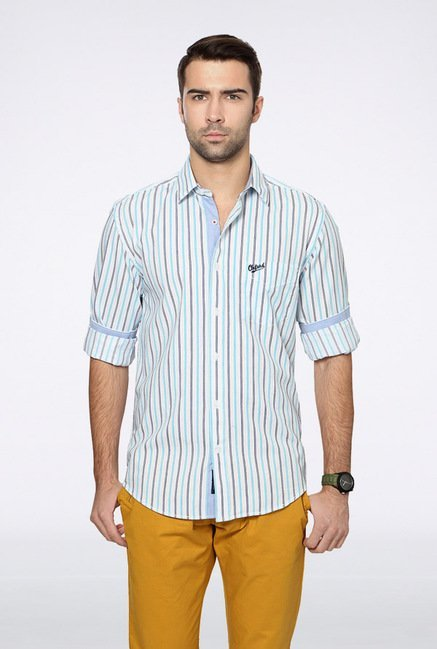 University Of Oxford White Striped Casual Shirt