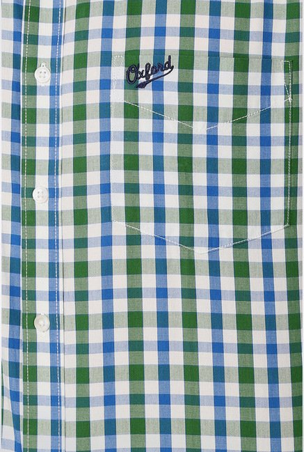 University Of Oxford Green Checks Casual Shirt