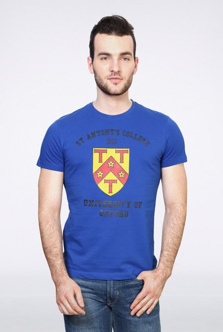 University Of Oxford Blue Graphic Crew T Shirt