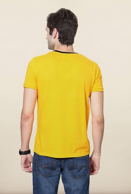 University Of Oxford Yellow Solid Crew T Shirt