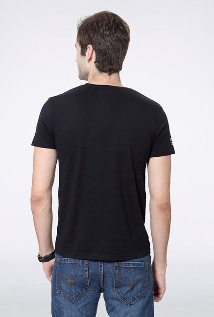 University Of Oxford Black Printed Crew T Shirt