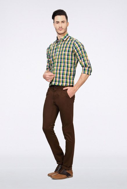 Van Heusen Brown Solid Chinos