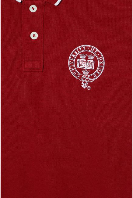 University Of Oxford Maroon Solid Polo T Shirt