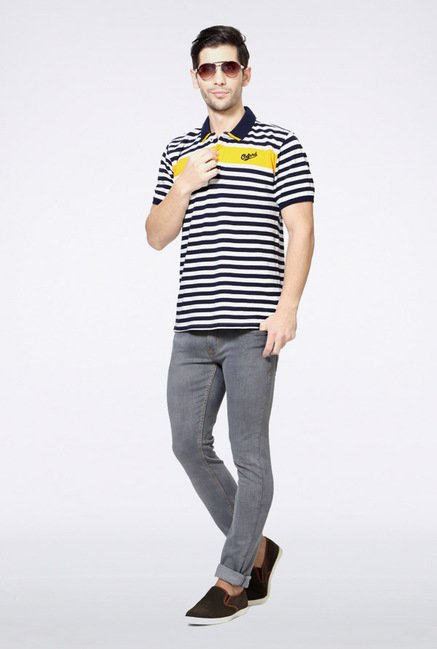 University Of Oxford Navy Striped Polo T Shirt