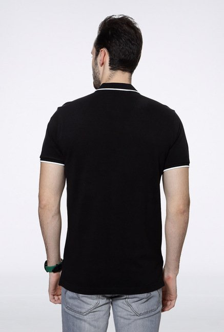 University Of Oxford Black Solid Polo T Shirt