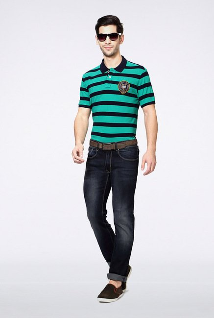 University Of Oxford Green Striped Polo T Shirt