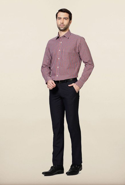 Peter England Orange & Navy Checks Formal Shirt