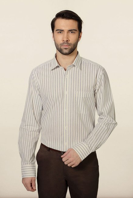 Peter England White & Navy Striped Formal Shirt