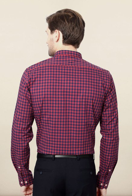 Van Heusen Pink & Blue Checks Formal Shirt