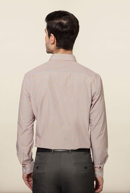 Peter England Orange & Blue Checks Formal Shirt