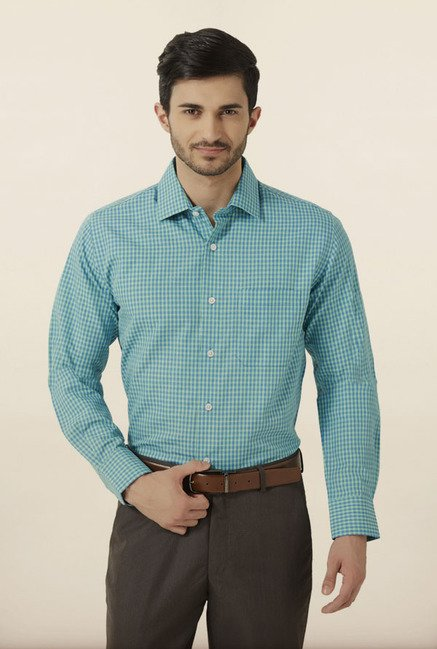 Peter England Blue & Green Checks Formal Shirt