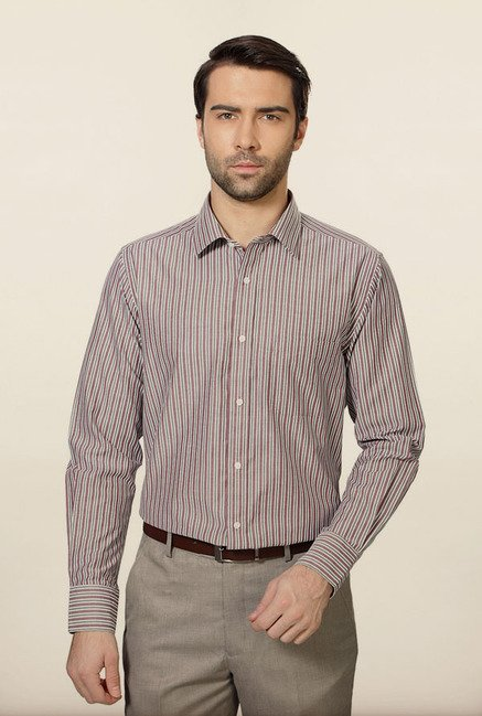 Peter England Maroon Striped Formal Shirt