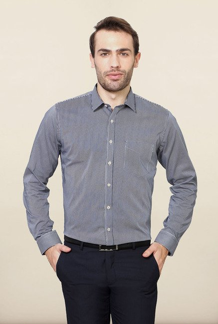 Van Heusen Navy Striped Formal Shirt